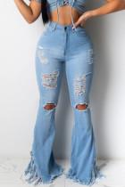 Light Blue Denim Zipper Fly Mid Solid Tassel Hole Boot Cut Pants Bottoms