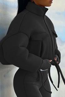 Black Casual Solid Mandarin Collar Outerwear
