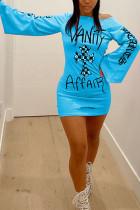 Sky Blue Fashion Street Adult Polyester Print Letter Oblique Collar Long Sleeve Mini Printed Dress Dresses