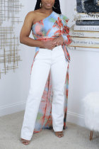 Multi-color Spandex One Shoulder Collar Long Sleeve Patchwork Print Slim fit Tops