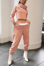 Pink Fashion Casual Solid Split Joint Turtleneck Long Sleeve Regular Sleeve Short Two Pieces