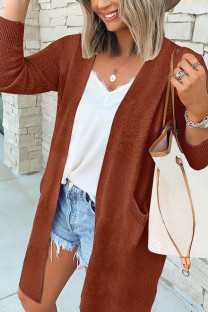Brown Fashion British Style Adult Sweater Solid Split Joint Pocket Conventional Collar Tops