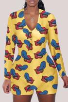 Yellow Fashion Adult Living Print V Neck Skinny Jumpsuits