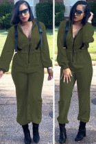 Army Green Casual Solid zipper Polyester Long Sleeve Turndown Collar Jumpsuits