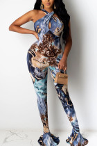 Blue Sexy Print Coloured drawing Polyester Sleeveless Hanging neck Jumpsuits