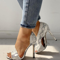 Snake Print Casual Split Joint Pointed Leather Shoes