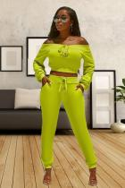 Yellow Polyester Casual Solid pencil Long Sleeve Two-piece Pants Set