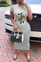 Grey Casual Short Sleeves O neck Sheath Knee-Length Print Dresses