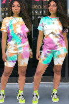 colour Polyester Fashion Sexy adult Ma'am O Neck Patchwork Print Tie Dye Two Piece Suits Stitching Plus Size
