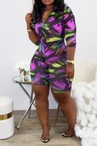 purple street Print zipper Polyester Long Sleeve V Neck Jumpsuits