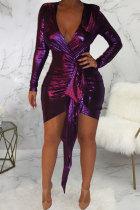 purple Polyester Sexy Fashion Cap Sleeve Long Sleeves V Neck Asymmetrical Mini Solid Patchwork asymmetrical