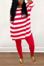 Red Sexy Print Split Joint O Neck Long Sleeve Two Pieces