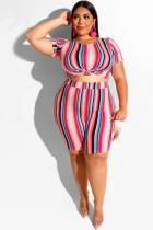 Stripe Polyester Fashion adult Sexy O Neck Two Piece Suits Tie Dye Striped Print Stripe