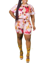 Pink Polyester Sweet O Neck Patchwork Print Tie Dye Stitching Plus Size