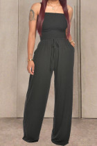 Black Fashion Casual Solid Draped Cotton Sleeveless Wrapped Jumpsuits