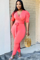 Pink Sexy Solid bandage Draped Polyester Short Sleeve V Neck Jumpsuits