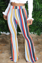 White Blue Pink Yellow Olive green Color blue Polyester Elastic Fly High Striped Loose Pants Bottoms