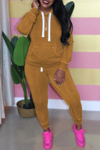Brown Casual Solid Hooded Collar Plus Size