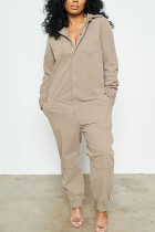Khaki Fashion street Solid Cotton Long Sleeve Turndown Collar Jumpsuits