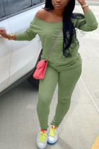 Green Milk Silk Fashion Active adult Ma'am Solid Two Piece Suits Straight Long Sleeve Two Pieces