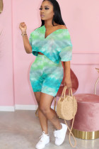 Green Polyester Fashion adult Ma'am OL Patchwork Print Tie Dye pencil Short Sleeve Two Pieces