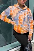 Orange Fashion Street Adult Polyester Print Tie-dye Hooded Collar Outerwear