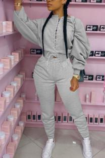 Grey Fashion Adult Elegant Polyester Solid Bandage O Neck Long Sleeve Regular Sleeve Regular Two Pieces