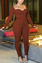 Brown Work Daily Solid Hollowed Out U Neck Regular Jumpsuits
