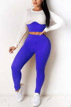 Blue Sexy Casual Polyester Pit Article Fabrics Patchwork Solid Split Joint O Neck Long Sleeve Regular Sleeve Short Two Pieces