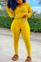 Yellow Sexy Sportswear Patchwork Zipper Collar Long Sleeve Two Pieces (With Mask)