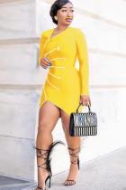Yellow Polyester Sexy Cap Sleeve Long Sleeves zipper Asymmetrical skirt Solid Patchwork asymmetrical