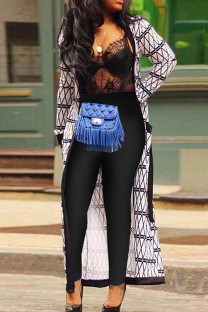 Gray White Fashion Casual Print Cardigan With Belt Outerwear