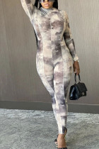 Grey Sexy Polyester Print O Neck Skinny Jumpsuits