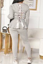 Grey Fashion Celebrities Adult Polyester Solid Bandage Flounce O Neck Long Sleeve Regular Sleeve Regular Two Pieces