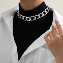 Silver Fashion Street Geometric Solid Necklaces