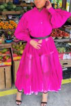 rose red Casual Patchwork Solid Mesh Without Belt Mandarin Collar Irregular Dress Plus Size Dresses