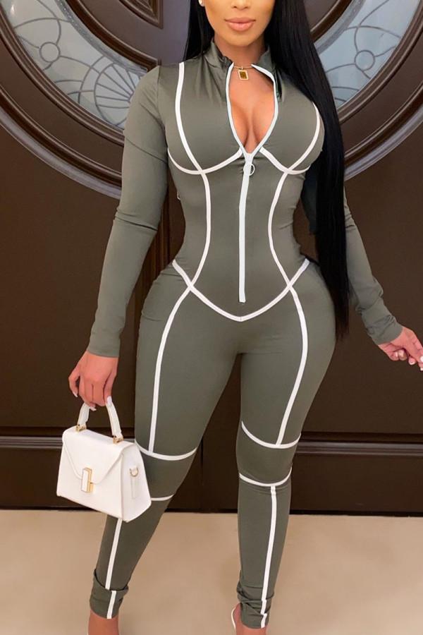 Grey Fashion Print O Neck Straight Jumpsuits