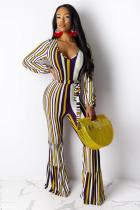 Yellow Sexy Fashion Print Striped Polyester Sleeveless O Neck