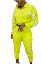 Fluorescent green Polyester Active Patchwork Fluorescent pencil Long Sleeve Two Pieces
