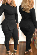 Black Fashion Casual Solid Basic V Neck Long Sleeve Two Pieces