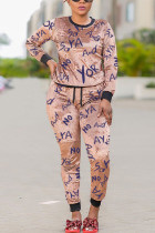 Pink Polyester Fashion Sexy adult Ma'am O Neck Print Two Piece Suits Stitching Plus Size