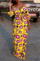 Yellow Work Daily Print V Neck Pencil Skirt Dresses