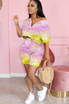 Pink Polyester Fashion adult Ma'am OL Patchwork Print Tie Dye pencil Short Sleeve Two Pieces