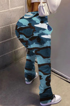 Blue Street Camouflage Print Boot Cut Trousers