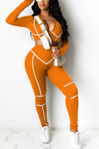 Orange Sexy Polyester Solid Split Joint V Neck Long Sleeve Regular Sleeve Short Two Pieces