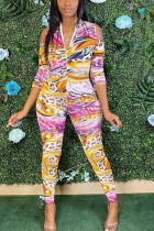 multicolor Fashion Sexy Adult Polyester Print V Neck Skinny Jumpsuits