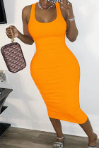 Orange Polyester Sexy Europe and America O Neck Solid Plus Size