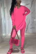 Pink Fashion Casual Adult Polyester Solid Split Joint O Neck Long Sleeve Regular Sleeve Regular Two Pieces