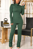Grey Fashion Casual Solid Fold Turtleneck Long Sleeve Two Pieces