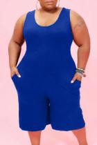 Blue Casual Solid Pocket O Neck Plus Size Jumpsuits